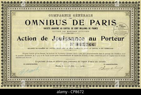 Historic stock certificate, share, Omnibus de Paris, bus service of Paris, 100 francs, Paris, France, 1924, Historisches - Stock Photo