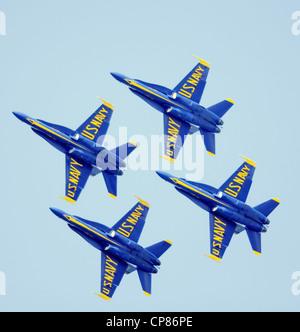 US Navy Blue Angels aerobatic team, F-18 Hornets - Stock Photo