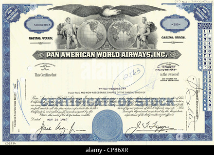 Historical stock certificate, allegorical representation of a bald eagle with two sides of the globe and Greek Olympian - Stock Photo
