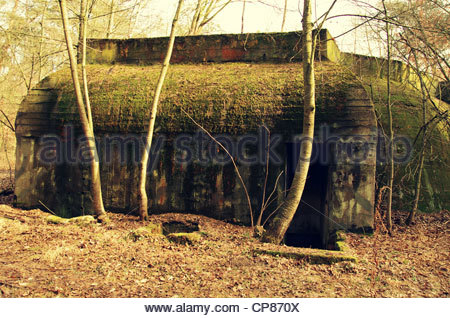 Moss covered bunker (former Red Army garrison town) - Stock Photo