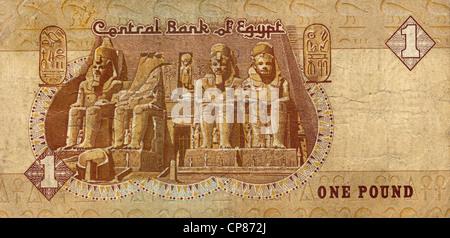 Banknote aus Ägypten, 1 Pfund, Abu Simbel Tempel, 1996, Egyptian pound banknote - Stock Photo