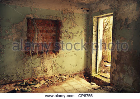 Interior of derelict building (former Red Army garrison town) - Stock Photo