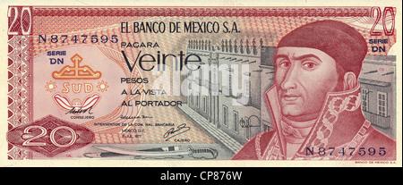Banknote aus Mexiko, 20 Peso, José María Morelos y Pavón, 1977, Banknote from Mexico, 20 peso, José María Morelos - Stock Photo