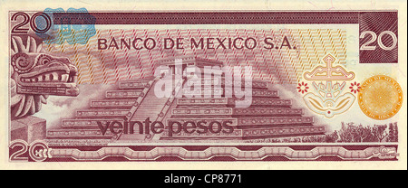 Banknote aus Mexiko, 20 Peso, die Quetzalcóatl Pyramide in Teotihuacán, 1977, Banknote from Mexico, 20 peso, Quetzalcóatl - Stock Photo