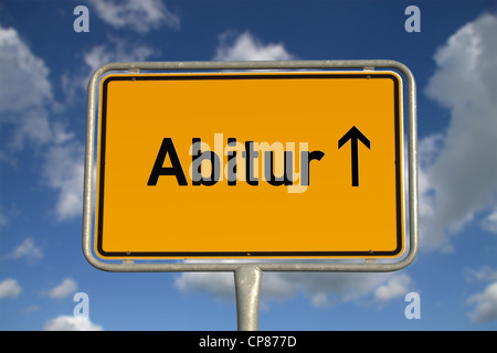 German road sign traffic Graduation with blue sky and white clouds - Stock Photo