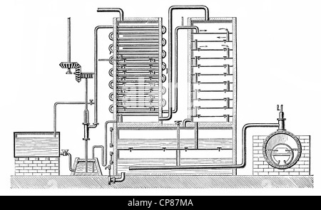 Coffey distillation device or column still, distillation apparatus by the Irishman Aeneas Coffey, 19th Century, - Stock Photo
