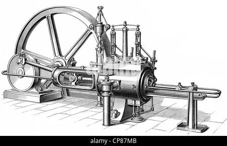 Piston heat steam engine, the contained thermal energy or pressure in steam is transformed into mechanical work, - Stock Photo