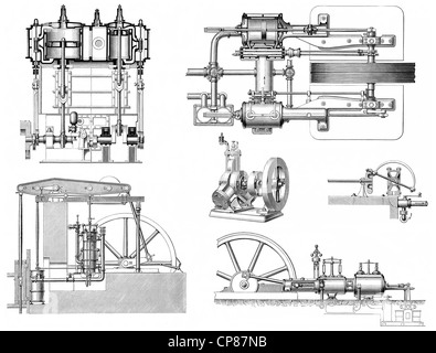 various steam engines, piston heat engine, the thermal energy or pressure contained in steam is transformed into - Stock Photo