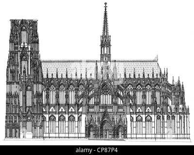 Historic illustration of Cologne Cathedral, Historische, zeichnerische Darstellung, Detail, südliche Längsansicht, - Stock Photo