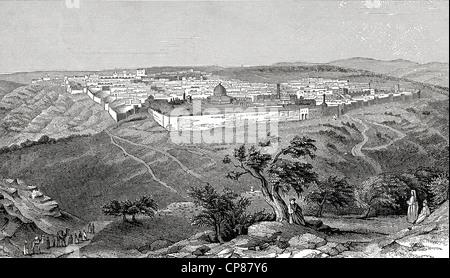 Cityscape of Jerusalem, Israel, historic engraving from the 19th Century, Stadtansicht von Jerusalem, Israel, historischer - Stock Photo