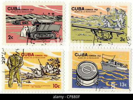 Historic postage stamps from Cuba, Museum of the Revolution with the motor-yacht Granma, 26th of July Movement, - Stock Photo