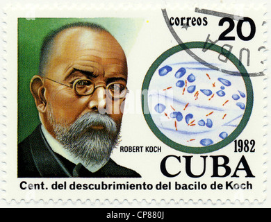 Historic postage stamps from Cuba, Historische Briefmarken, Robert Koch, 1982, Kuba, Karibik - Stock Photo