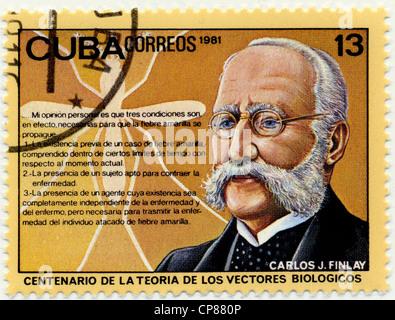 Historic postage stamps from Cuba, Historische Briefmarken, Carlos Juan Finlay de Barres, 1981, Kuba, Karibik - Stock Photo