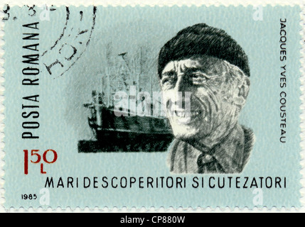 Historic postage stamps, Romania, Historische Briefmarke, Jacques-Yves Cousteau, 1985, Rumänien, Europa - Stock Photo