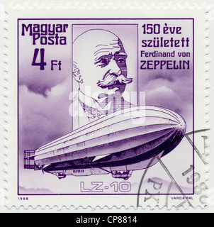 Historic postage stamps from Hungary, Historische Briefmarke, Ferdinand Graf von Zeppelin, 1988, Ungarn, Europa - Stock Photo