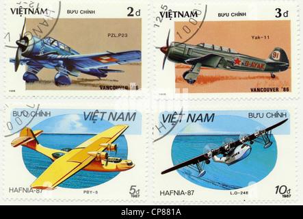 Historic postage stamps from Vietnam, Historische Briefmarken aus Vietnam, Flugzeuge, 1986 - Stock Photo