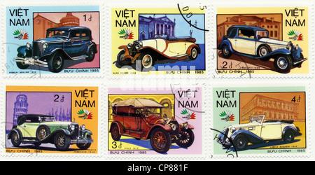 Historic postage stamps from Vietnam, Historische Briefmarken aus Vietnam, 1985, internationale Oldtimer, Bugatti, - Stock Photo