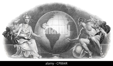 Historical stock certificate, detail of the vignette, allegorical representation of the Olympic gods Demeter and - Stock Photo