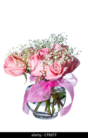 Beautiful pink roses in glass vase on pure white background - Stock Photo