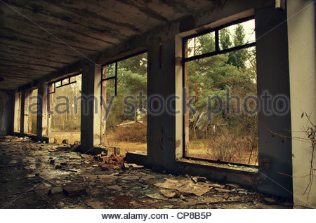 Derelict industry hall (former Red Army garrison town) - Stock Photo
