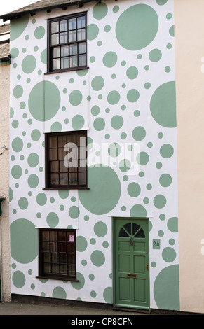 Terraced house painted with spots in Bishops Castle Shropshire - Stock Photo