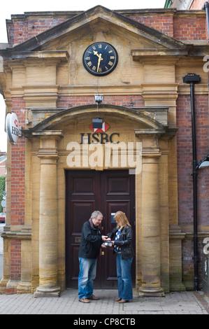 Exterior of HSBC Bank on high street in Bromyard Herefordshire England UK - Stock Photo