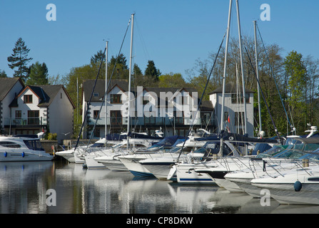 Boats moored in the Windermere Marina, near Bowness, Lake District National Park, Cumbria, England UK - Stock Photo