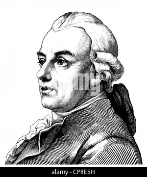 Gotthold Ephraim Lessing, 1729 - 1781, a poet of the German Enlightenment, Historische Zeichnung aus dem 19. Jahrhundert, - Stock Photo