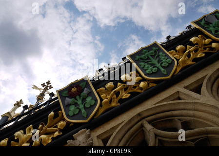 Decorated motif on the Clock Tower, Houses of Parliament, Palace of Westminster, London, England - Stock Photo