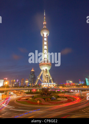 Night view of Pearl Oriental Tower in Lujiazui district of Pudong China - Stock Photo