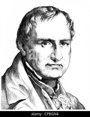 Christian Leopold Freiherr von Buch, 1774 - 1853, a German geologist, Historische Zeichnung aus dem 19. Jahrhundert, Portrait vo