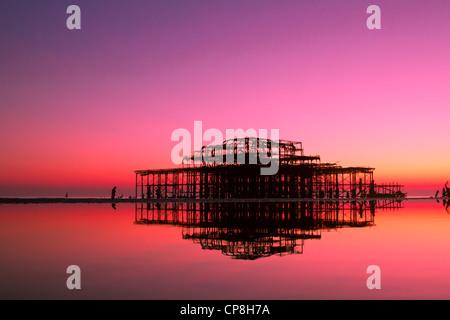 Brighton West Pier at Sunset, UK - Stock Photo