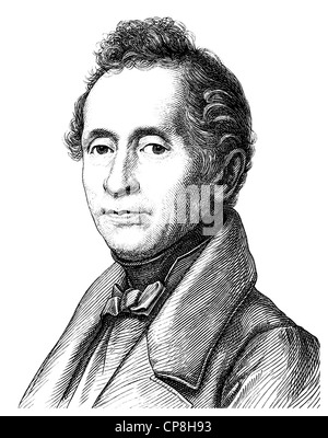 Joseph Karl Benedikt Freiherr von Eichendorff, 1788 - 1857, a poet and writer of German Romanticism, Historische - Stock Photo