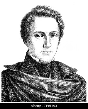 Wilhelm Hauff, 1802 - 1827, a German writer of the Romantic era, Historische Zeichnung aus dem 19. Jahrhundert, - Stock Photo