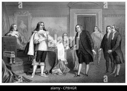 engraving from the 19th Century, 1876, William Penn receiving the Charter of Pennsylvania from Charles II, Willam - Stock Photo