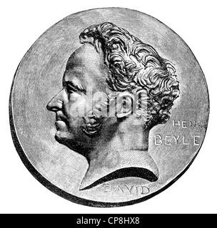 Stendhal or Marie-Henri Beyle, 1783 - 1842, a French writer, Historische Druck aus dem 19. Jahrhundert, Portrait - Stock Photo
