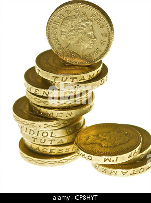 One pound coins in a pile. - Stock Photo