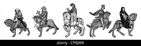 figures on horseback after the Ellesmere Manuscript, 15th century, from Geoffrey Chaucer's Canterbury Tales, Historische - Stock Photo