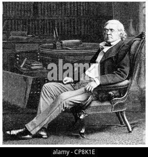 William Makepeace Thackeray, 1811 - 1863, an English writer, Historische Zeichnung aus dem 19. Jahrhundert, Portrait - Stock Photo