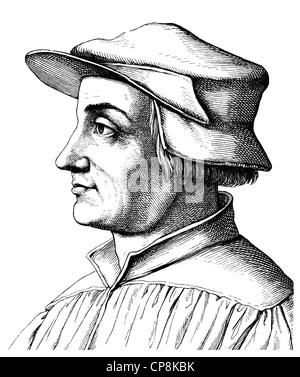 Ulrich Zwingli, 1484 - 1531, a Swiss theologian and reformer of Zurich, Historische Zeichnung aus dem 19. Jahrhundert, - Stock Photo