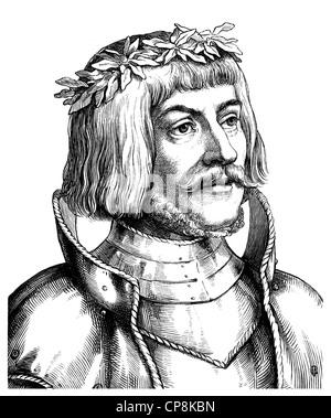 Ulrich von Hutten, 1488 - 1523, a German humanist, Historische Zeichnung aus dem 19. Jahrhundert, Portrait von Ulrich - Stock Photo