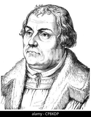 Martin Luther, 1483 - 1546, theologian and reformer, Historische Zeichnung aus dem 19. Jahrhundert, Portrait von - Stock Photo