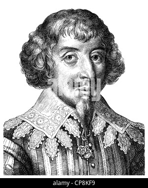 Martin Opitz von Boberfeld, 1597 - 1639, the founder of the Silesian school of poetry and a German poet of the Baroque, - Stock Photo