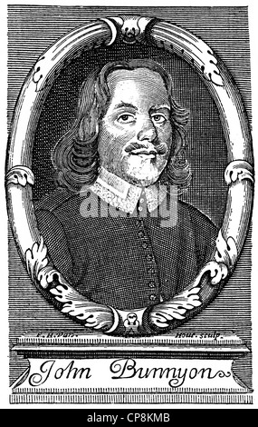 John Bunyan, 1628 - 1688, an English Baptist preacher and writer, Historische Zeichnung aus dem 19. Jahrhundert, - Stock Photo