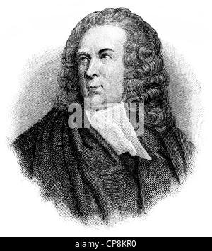Edward Young, 1681 - 1765, an English writer, Historische Zeichnung aus dem 19. Jahrhundert, Portrait von Edward - Stock Photo