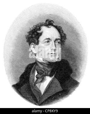 Thomas Moore, 1779 - 1852, an Irish poet, writer, translator, and ballad singer, Historische Zeichnung aus dem 19. - Stock Photo