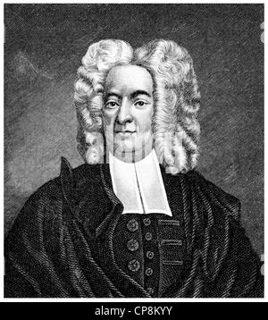 Cotton Mather, 1663 - 1728, a Puritan clergyman and scholar in North America, Historische Zeichnung aus dem 19. - Stock Photo