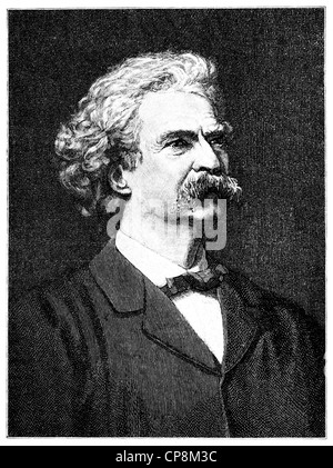 Samuel Langhorne Clemens or Mark Twain, 1835 - 1910, an American writer, author of The Adventures of Tom Sawyer - Stock Photo