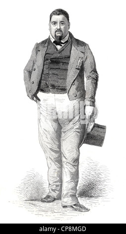 Historical steel engraving from the 19th Century, portrait, Antony Thouret, 1807 - 1871, member of the French National - Stock Photo