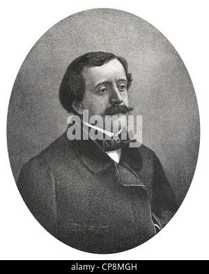 Paul de Saint-Victor or Paul Bins, Comte de Saint-Victor, 1827 - 1881, French writer, Historic steel engraving from - Stock Photo
